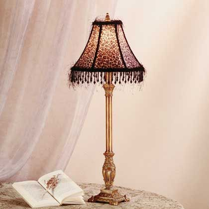 Buffet lamp with leopard print shade~ - 32 Best Beaded Lampshades= Love Images On Pinterest Victorian