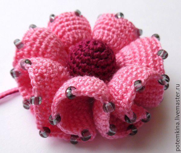 Вяжем цветок с воланами крючком - Ярмарка Мастеров - ручная работа, handmade