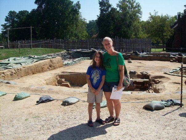 Heritage Research Manager Sarah and her daughter Kaya at Jamestown, Virginia. @histjamestowne
