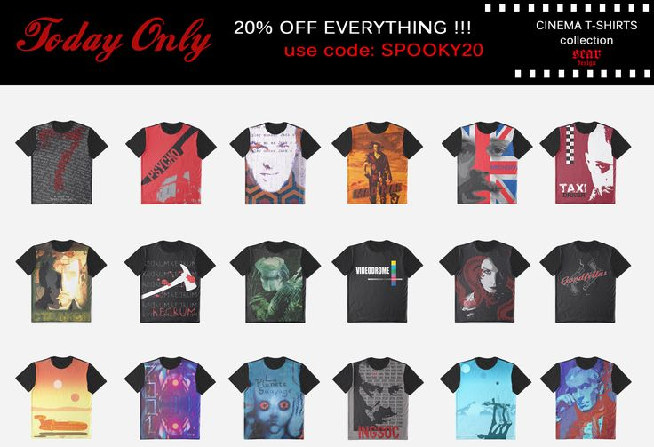 Today Only! 20% OFF everything!!! Use SPOOKY20   #sales #discount #OctoberSales #October #Fall #FallSales #redbubble #tshirts #Halloween #buygifts #giftsforhim #giftsforher #cinemagifts #buytshirts #movietshirts #buymovietshirts #geek #nerd #cinema #movies #bestmovies #cinephile #cinephilegifts #blockbuster #hollywood #animation #horrormovies