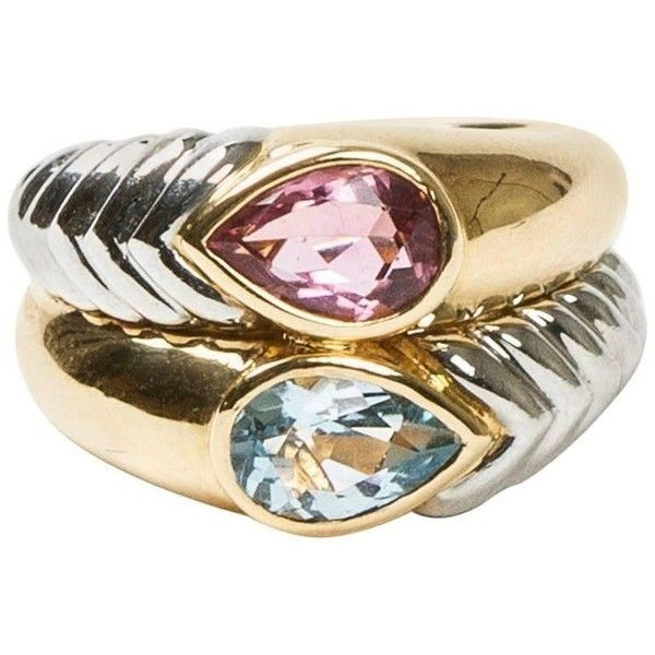 preowned bulgari pear cut pink and blue stones twocolor gold double liked on polyvore featuring jewelry rings fashion rings pink