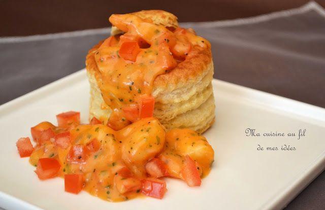 Ma cuisine au fil de mes idées...: Vol-au-vent de crevettes, béchamel à la tomate et ...