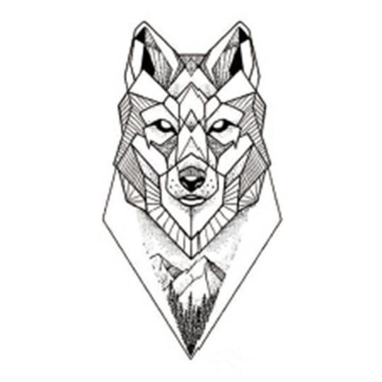 Sanaer Geometric Wild Wolf Nature Animal Temporary Tattoo