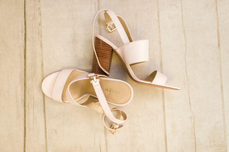 Classic and comfortable nude wedding day sandals | Bride shoes | Coach stacked heel sandal | Photography: Melissa Avey