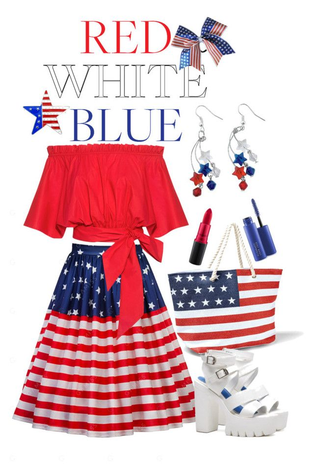 """""""Red White Blue"""" by giovanina-001 ❤ liked on Polyvore featuring Saloni, Venus, MAC Cosmetics and fourthofjuly"""