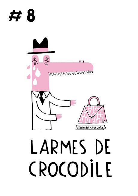 Cette expression date du XVIe siècle, elle fait allusion à une légende de l'Antiquité où les crocodiles charmaient leurs proies par des gémissements. Une fois attirées, elles se faisaient prendre. Aujourd'hui lorsque l'on pleure pour obtenir quelque chose, cela s'appelle des larmes de crocodile.  Amélie Falière : Portfolio : Illustrations enfants