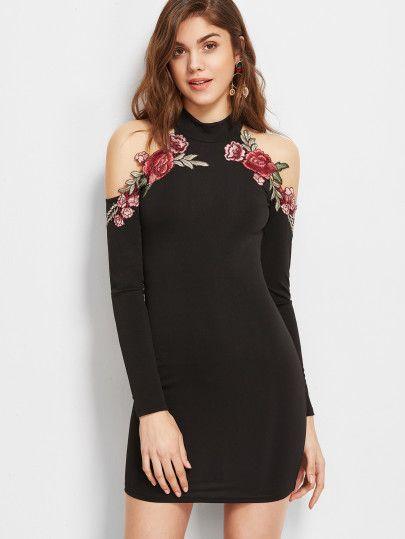 Halter Cold Shoulder Embroidered Appliques Dress