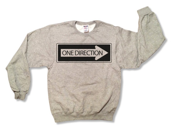 """One Direction """"One Way Sign"""" Sweatshirt - Gray - All Sizes Available - 1D Sweater. $23.45, via Etsy."""
