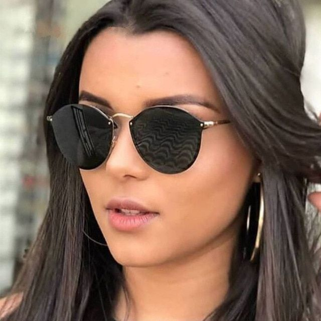 92d87c1ba Luxury Brand Rimless Round Sunglasses For Women Female Lady Retro Vintage  Fashion Cat Eye Sun Glasses