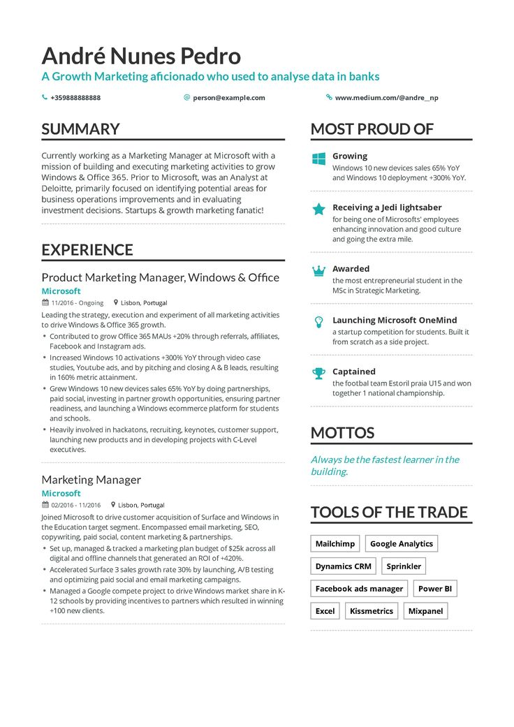 Growth Marketing Resume Example and guide for 2019
