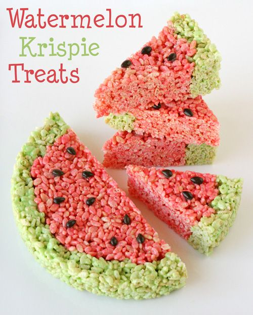 Watermelon-Krispie-Treats. [I'm making my own version of this for a pool party today. I'm substituting mini chocolate chips throughout the pink part instead of just seeds on the top.]