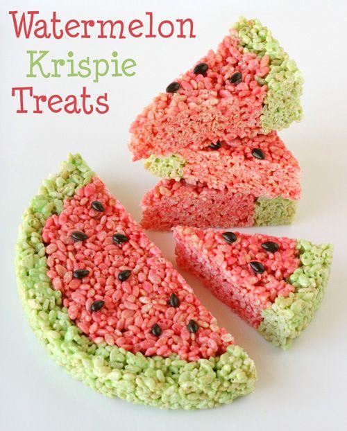 Watermelon Krispie Treats - Cute idea for summer BBQ's