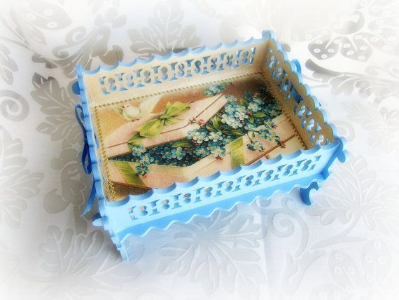 Wooden bowl decorative bowl sky blue wood bowl birds by GattyGatty