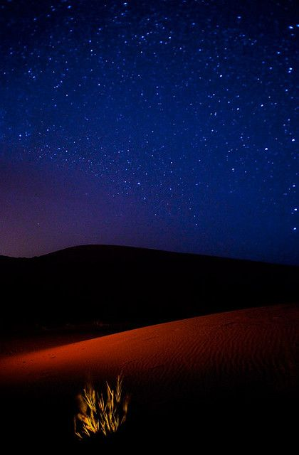 Night in the Moroccan desert looking at the stars...