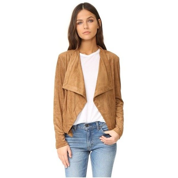 BB Dakota Nanette Drape Front Jacket ($115) ❤ liked on Polyvore featuring outerwear, jackets, moccasin, drape front jacket, bb dakota, beige jacket, shiny jacket and bb dakota jacket