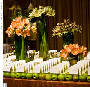 The 25 best green apple wedding ideas on pinterest apple centerpieces for wedding in a backyard with green apples bed of green apples served as junglespirit