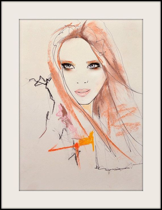 Marianne 2 Fashion Illustration Art Print by LeighViner on Etsy