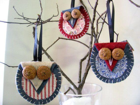 Handmade Felt Owl Ornaments with Acorn Eyes - Christmas - Harvest - Gift - Bird