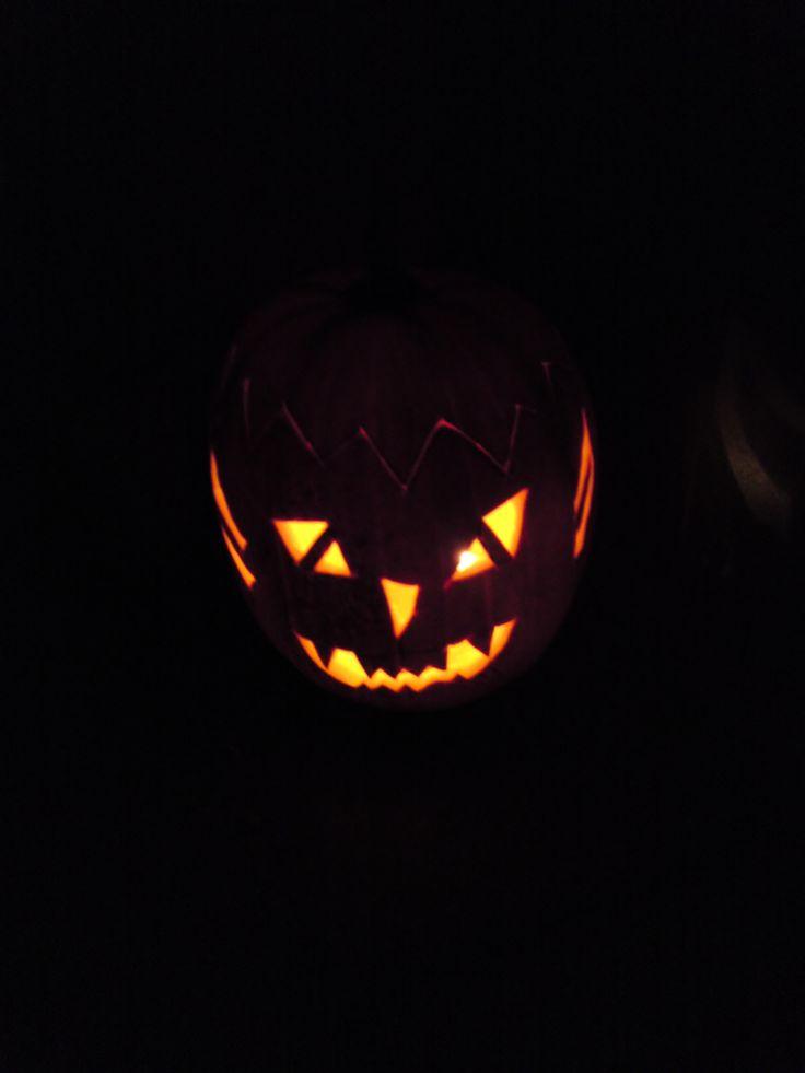 Pumpkin in our front yard....Halloween 2009 (Eriksholmparken).