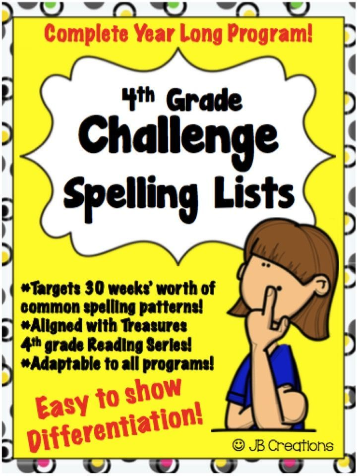 "Show differentiation each week in your students' spelling by using this set of ""ready to print and go"" challenge lists!  I created this collection of lists to align to the Treasures Reading program but it can be easily adapted to ANY program as it uses 30 of the most common spelling patterns in 4th grade language arts.  https://www.teacherspayteachers.com/Product/4th-Grade-Challenge-Set-of-Spelling-Lists-1140606"