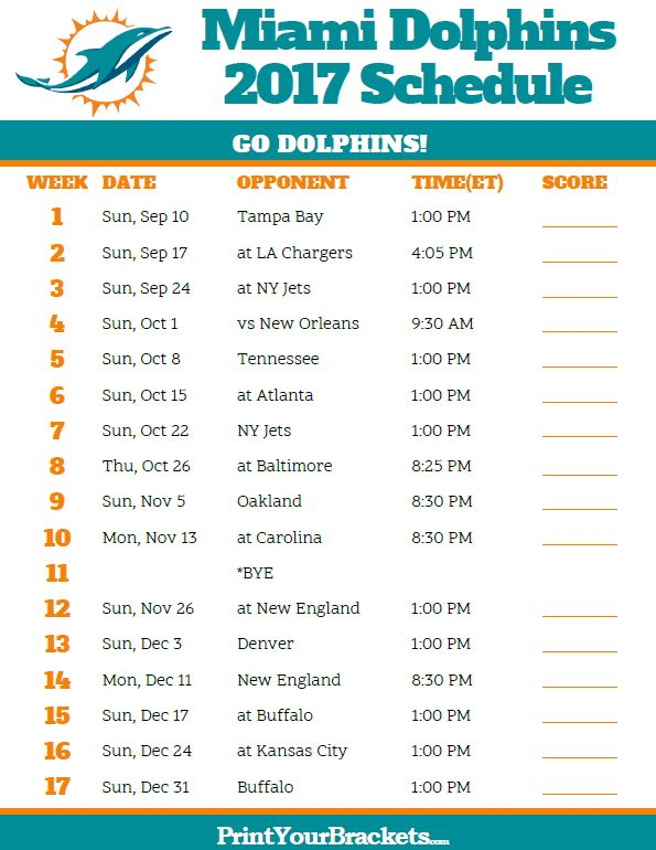 2017 Miami Dolphins Football Schedule  https://www.fanprint.com/licenses/miami-dolphins?ref=5750