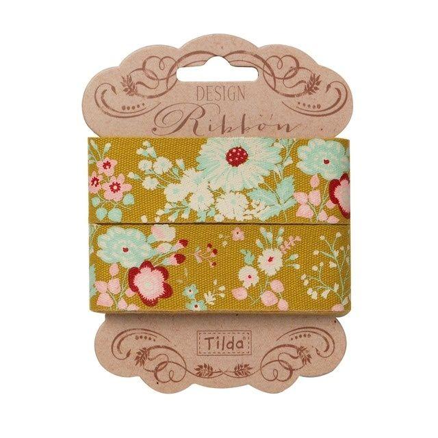 481279 Tilda Ribbon, 25mm, Memory Lane - Lucille Olive