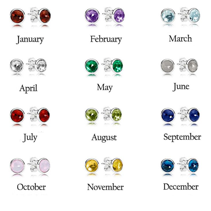 Droplets Birthstone Stud Earrings 2017 New Crystal Earring 100% 925 Sterling Silver Charm Birthday Gift Fits Pandora Jewelry