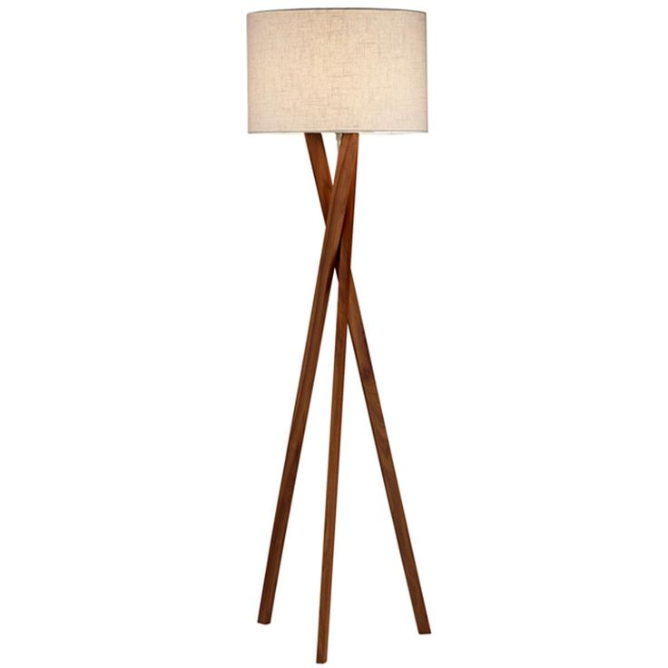 Sleek wood modern tripod floor lamp