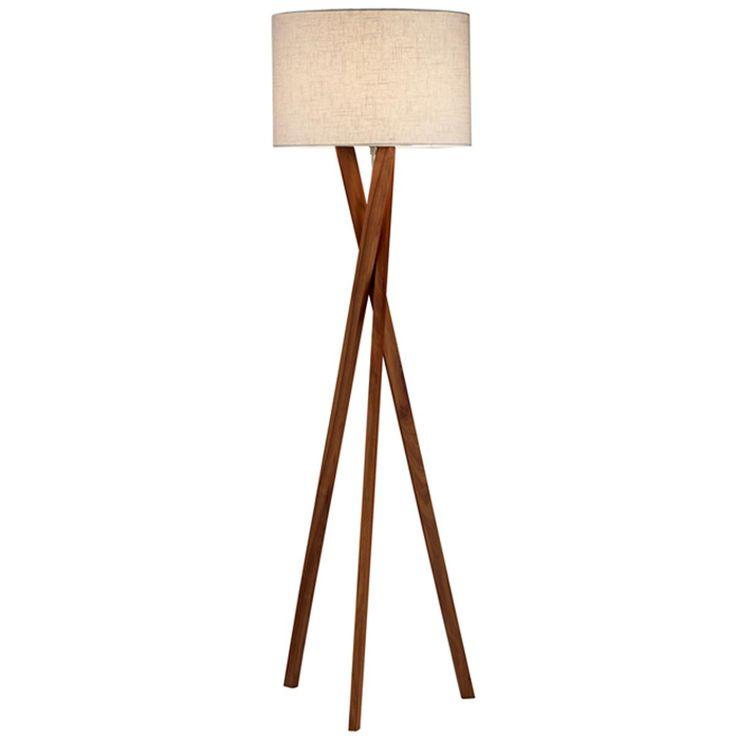 Sleek wood modern tripod floor lamp