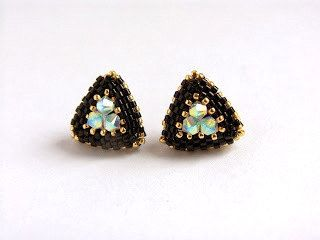 Triangle Earrings - Beaded Stud Earrings- Post Earrings- Gold Black Earrings