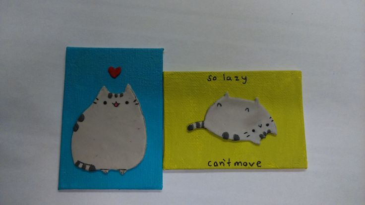 Pusheen the cat, Fimo on painted mini canvas