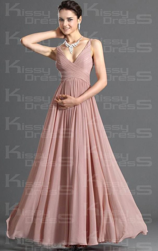 Pink Chiffon A-line V-neck Sleeveless 2014 Long Prom Dress -in silver