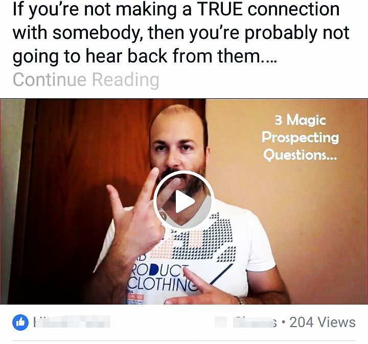 "If you're not making a true connection with somebody then you're probably not gonna hear back from them. Listen up... I've recorded a video on my FB Fan Page about the 3 Magic Prospecting Questions you need to ask your products to pre-qualify them and be sure that they're a good fit for your business. Tag a friend and comment ""I want it"" and I'll send you a DM with the link to this FREE video"