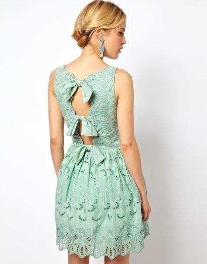 Miętowa sukienka koronkowa - ASOS