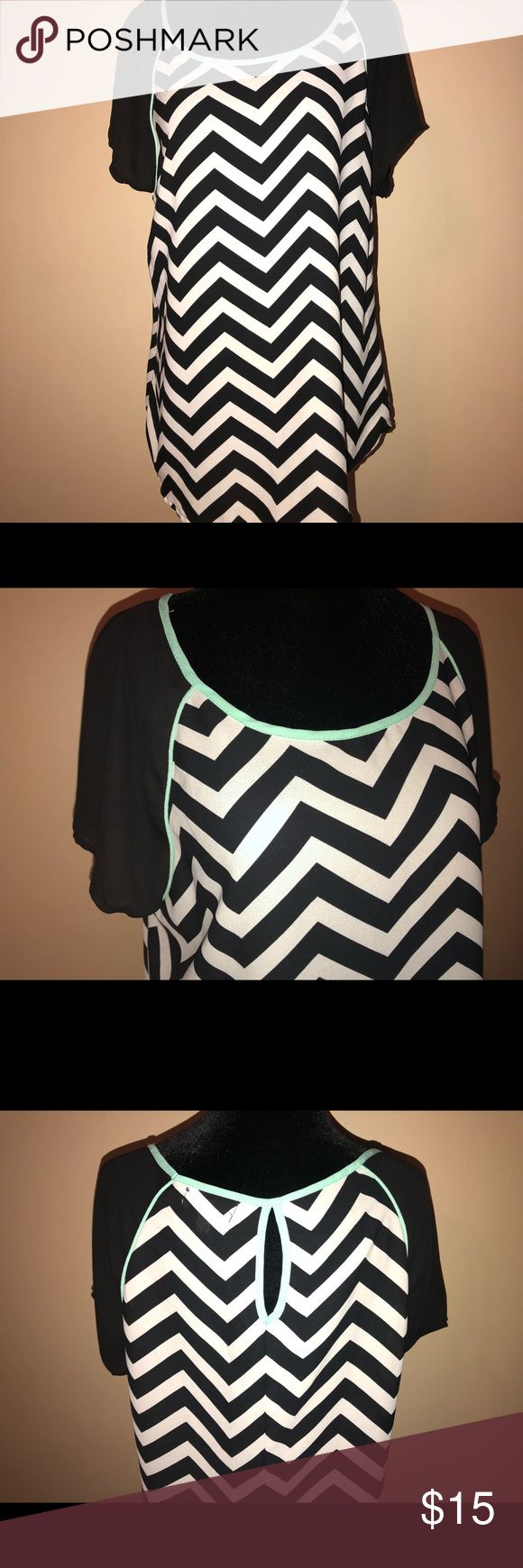 Tunic Chevron Blouse Large Tunic size large new condition. Has mint colored detail around neck. So pretty!!! Soulmates Tops Blouses