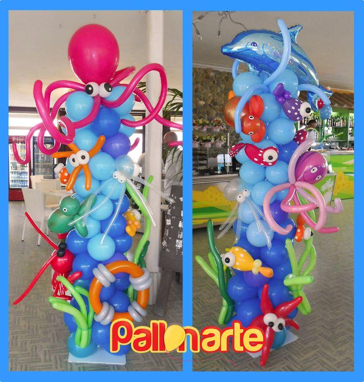 balloons Under the sea column bajo el mar con globos il fondo del mare con palloncini colonne