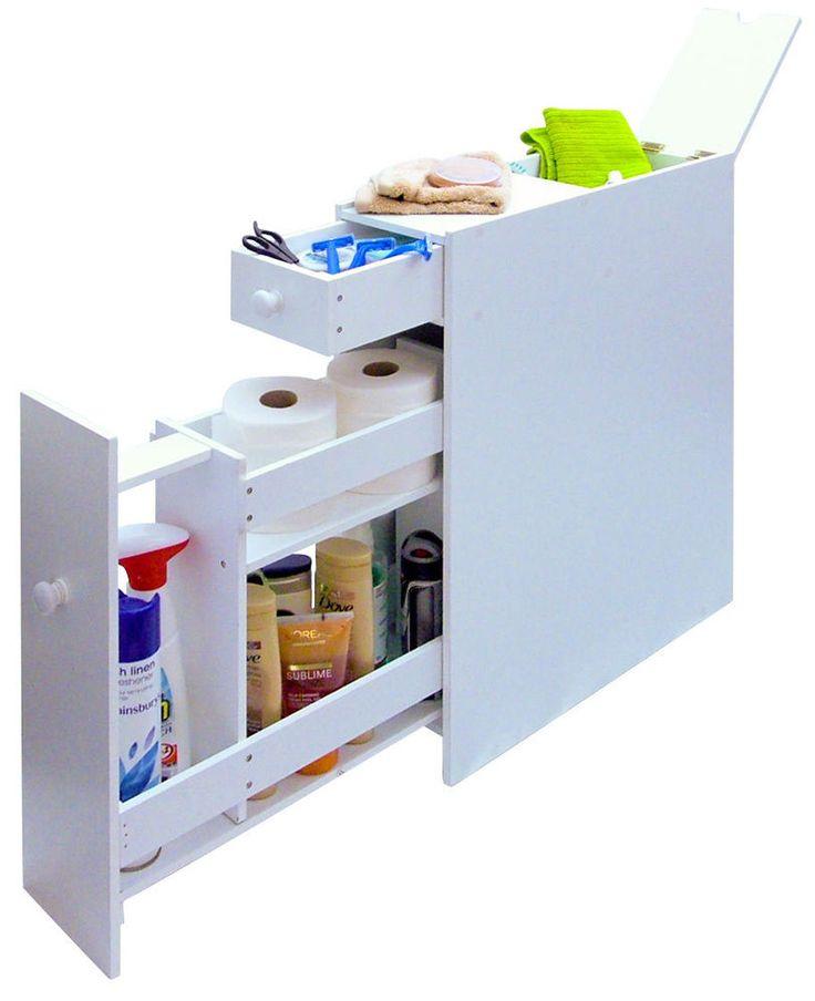 Slimline BATHROOM STORAGE CUPBOARD Cabinet Unit Rack White WC Toilet Roll Holder
