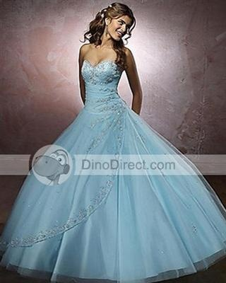 Blue grad dress with a poofy skirt