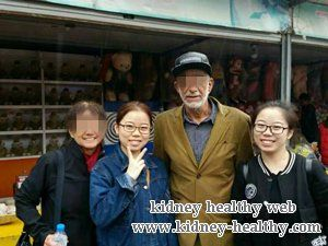 He had Kidney Failure with High Creatinine Level 1166, High BUN Level 31.9 and high urea acid 385 when he came to our hospital. He did not want to do Kidney Dialysis, so he came here for Chinese treatments.