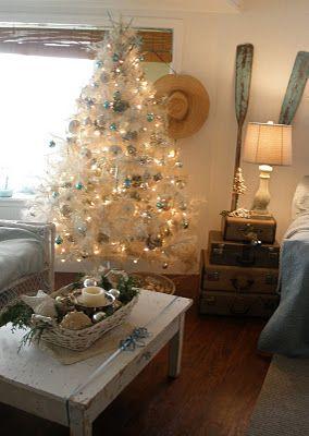 Beach ChristmasWhite Christmas Trees, Nautical Christmas, Christmas Parties, Beach Christmas, Beach House, Christmas Style, Beachy Christmas, Christmas Decor, Coastal Christmas