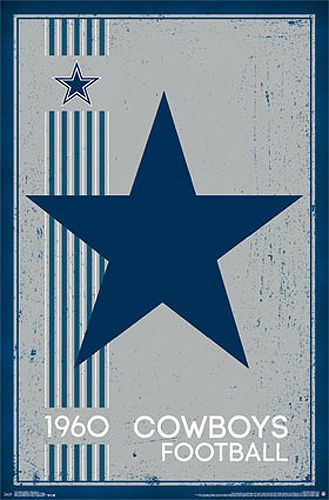 NFL Heritage Series DALLAS COWBOYS Retro Logo c.1960 Official NFL Football Team Poster - Costacos Sports