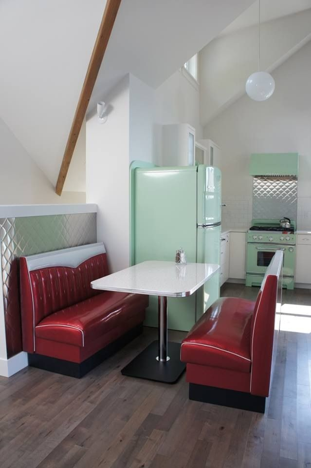 diner table and booth...wouldn't have this exactly but something similar would be cool!