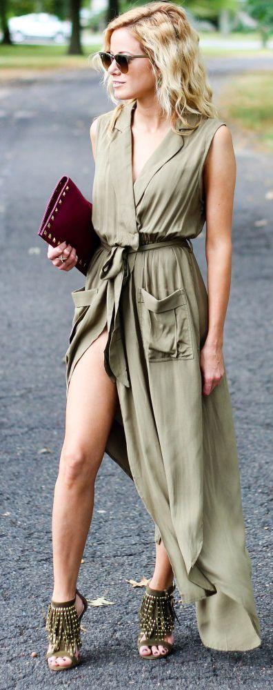 Army Green Sleeveless V Neck Split Dress