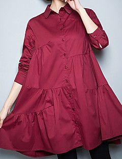 Mujer Vintage Simple Tejido Oriental Casual/Diario Trabajo Tallas Grandes Para Todas las Temporadas Verano Camisa,Cuello Camisero Un Color