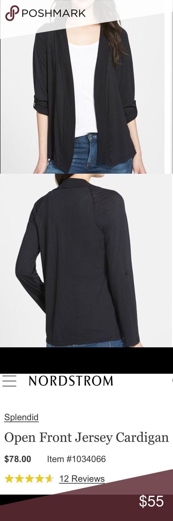 Black lightweight open front cardigan Lightweight  open-front cardigan.  Long sleeves with buttons to convert to 3/4 sleeve.  NWOT Splendid Sweaters Cardigans