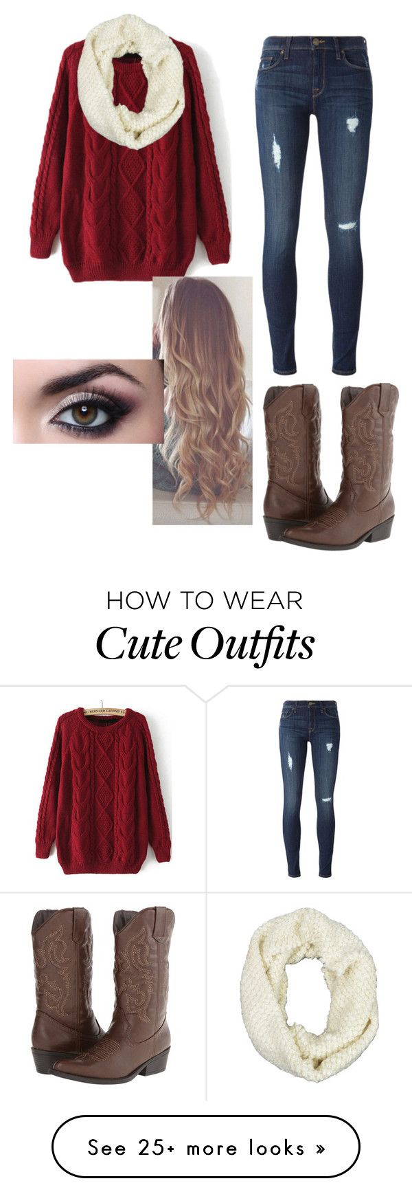 """Cute Christmas Outfit"" by hrharper on Polyvore featuring LA77, Hudson and Madden Girl"