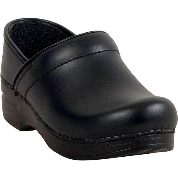 Dansko Box Leather Professional Women's Clog Slip-On ($125) ❤ liked on Polyvore featuring shoes, clogs, black, slip-on shoes, black clogs, black clog shoes, clog shoes and black shoes