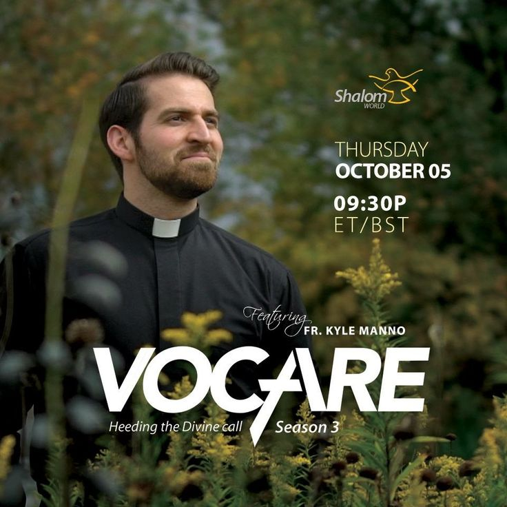 Fr. Kyle Manno takes us through his call to the priesthood, the challenges he faced, and his mission and vision in the upcoming episode of Vocare, tomorrow at 9:30PM ET/BST!  Watch SHALOM WORLD on Apple TV, Roku, Amazon Fire TV, Samsung TV, Android TV, Kindle Fire HD, on your iPhone, iPad, Android Phone, and online at www.ShalomWorldTV.org/live . #ShalomWorld #Vocare #Season3 #Vocation #Clergy #FrKyleManno