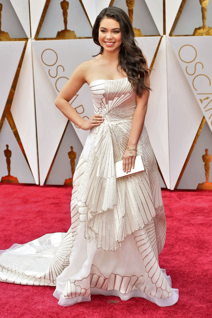 Up-and-coming star Auli'i Cravalho, the voice of Disney's Moana, wearing Maxior jewels on the 2017 Oscars red carpet. How to get jewellery on the red carpet worn by celebrities for events and parties with celebrity placement: http://www.thejewelleryeditor.com/jewellery/interview/dorazio-secrets-to-red-carpet-jewellery-celebrity-placement-success/ #jewelry