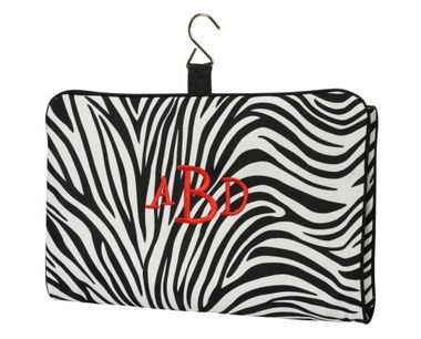 Black Trim Zebra Print Hanging Cosmetic bag For $23.99 Free #Monogram #Personalized for #Zebra #Hanging #Cosmetic #Makeup #Bag #Embroidery #Travel #Case